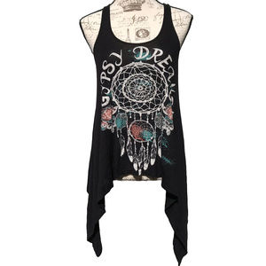 About A Girl Gypsy Dreams Tank Top High Low Boho M